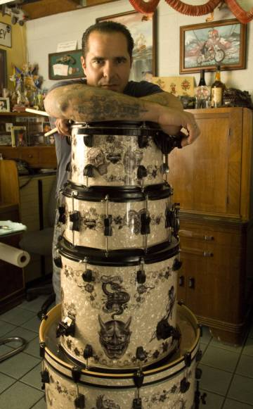 These drums feature the flash of world-renowned tattoo artist Corey