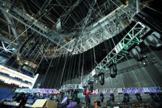 o2 arena london. Lighting rig at the O2 arena